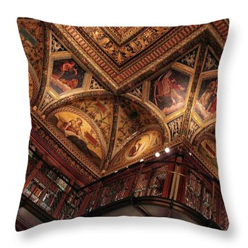 Throw Pillow featuring the photograph The Morgan Library Ceiling by Jessica Jenney