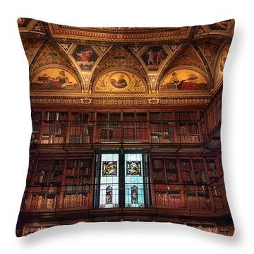 Throw Pillow featuring the photograph The Morgan Library Window by Jessica Jenney
