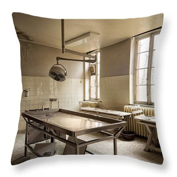 the morgue autopsy table - Urban exploration Throw Pillow