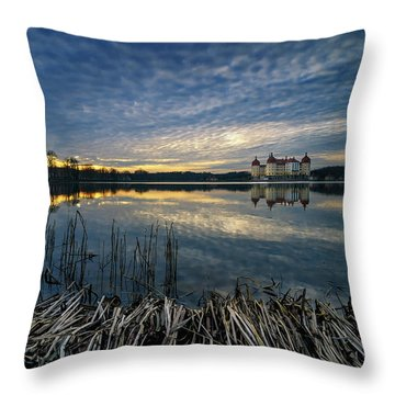 The Moritzburg Castle Is A Baroque Palace In Moritzburg In The German State Of Saxony. Saxony, Germany. Throw Pillow