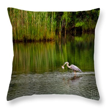 The Morning Catch Throw Pillow by Mark Miller