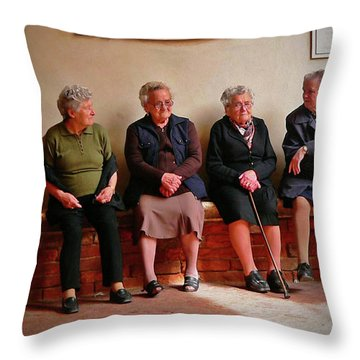 The Morning Gossip Throw Pillow by Angela Wright