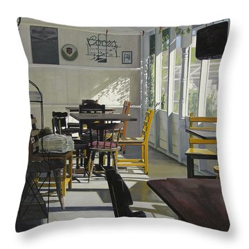 The Morning Paper Throw Pillow by Rebecca Zook