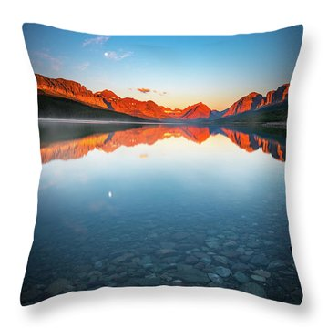 The Morning Tranquility With Full Moon Throw Pillow