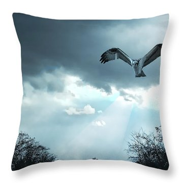 Throw Pillow featuring the digital art The Hawk by Zedi