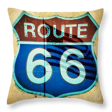 The Mother Road Route 66 Throw Pillow by MaryJane Armstrong