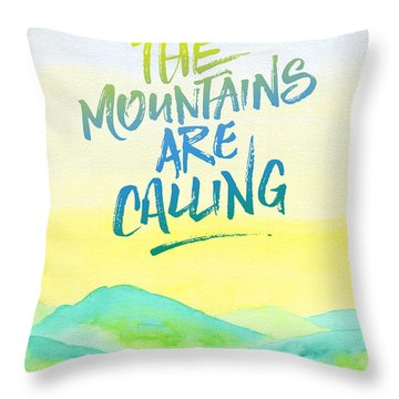 The Mountains Are Calling Yellow Blue Sky Watercolor Painting Throw Pillow