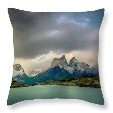 The Mountains On The Lake Throw Pillow by Andrew Matwijec