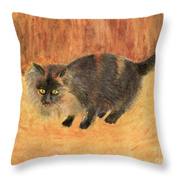 The Mouser, Barn Cat Watercolor Throw Pillow