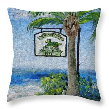 The Mucky Duck Captiva Island Florida Throw Pillow by Annie St Martin