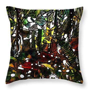 The Mushroom Village Throw Pillow by Garima Srivastava