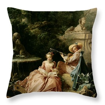 The Music Lesson Throw Pillow by Francois Boucher