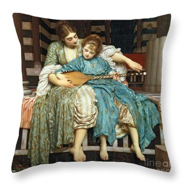 The Music Lesson Throw Pillow by Frederic Leighton