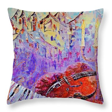 Throw Pillow featuring the painting The Music Of The Silence by AmaS Art