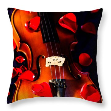 The Musical Rose Petals Throw Pillow