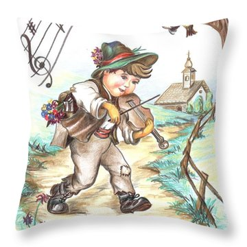 Throw Pillow featuring the drawing The Musician by Sorin Apostolescu