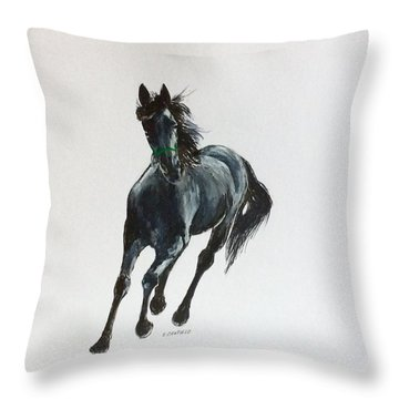The Mustang Throw Pillow by Ellen Canfield