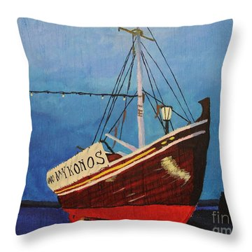 The Mykonos Boat Throw Pillow