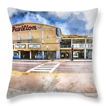 The Myrtle Beach Pavilion - Watercolor Throw Pillow