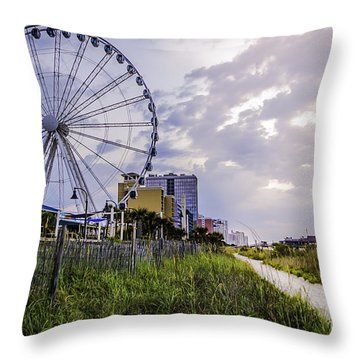 The Myrtle Beach, South Carolina Skywheel At Sunrise. Throw Pillow