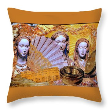 Throw Pillow featuring the mixed media The Mystery by Gail Kirtz