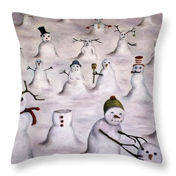 The Mystery Revealed On Snowman Hill Throw Pillow