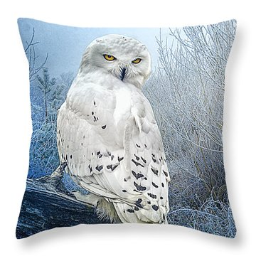 The Mystical Snowy Owl Throw Pillow by Brian Tarr