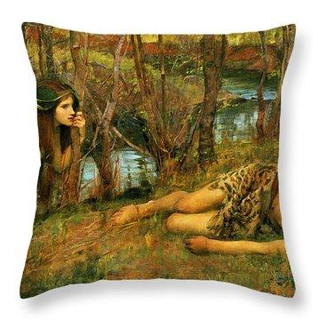 The Naiad Throw Pillow by John William Waterhouse