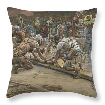 The Nail For The Feet Throw Pillow by Tissot