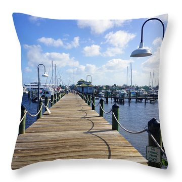 The Naples City Dock Throw Pillow