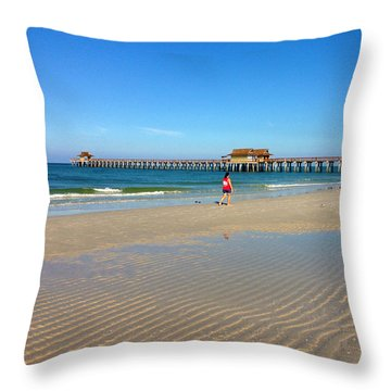 The Naples Pier At Low Tide Throw Pillow