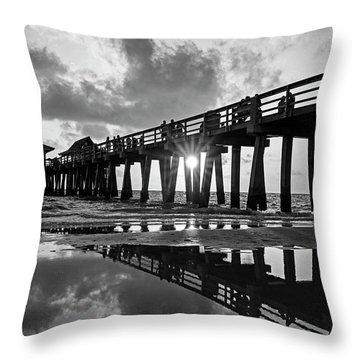 Naples Pier At Sunset Naples Florida Black And White Throw Pillow