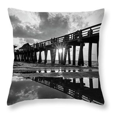 Naples Pier At Sunset Naples Florida Black And White Throw Pillow
