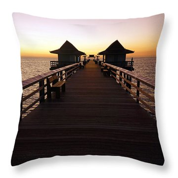The Naples Pier At Twilight - 01 Throw Pillow