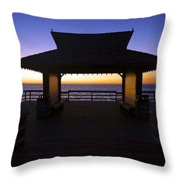 The Naples Pier At Twilight - 02 Throw Pillow