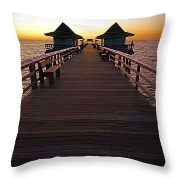 The Naples Pier At Twilight Throw Pillow