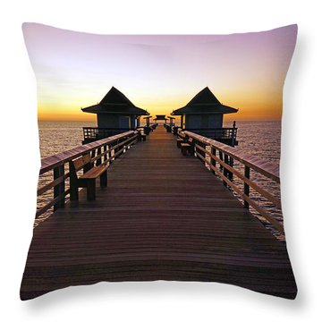 The Naples Pier At Twilight Throw Pillow