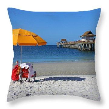 The Naples Pier Throw Pillow