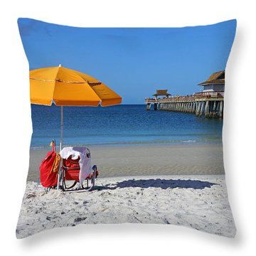 The Naples Pier Throw Pillow