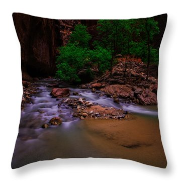The Narrows Waterfall Zion National Park Throw Pillow