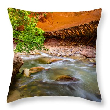 The Narrows Zion National Park Throw Pillow