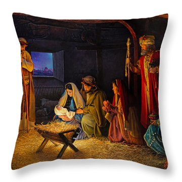 Throw Pillow featuring the painting The Nativity by Greg Olsen