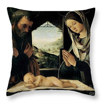 The Nativity Throw Pillow by Lorenzo Costa