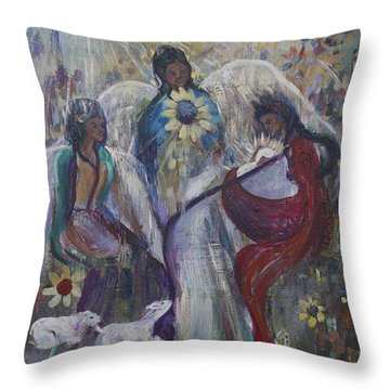 The Nativity Of The Angels Throw Pillow by Avonelle Kelsey