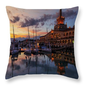 the nautical station and the yacht on the main sea channel of the Sochi seaport Throw Pillow