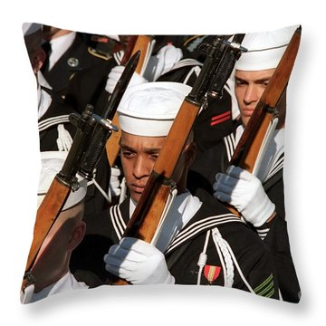 The Navy Ceremonial Honor Guard Throw Pillow by Stocktrek Images