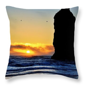 The Needles At Cannon Beach Throw Pillow by Scott Cameron