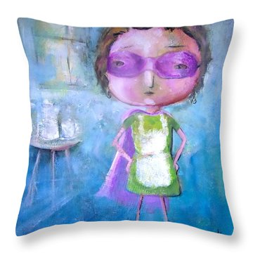 Throw Pillow featuring the painting The Nerearsighted Super Mom by Eleatta Diver
