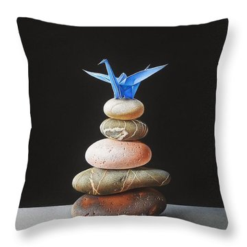 Throw Pillow featuring the drawing The Nest by Elena Kolotusha