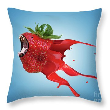 Throw Pillow featuring the photograph The New Gmo Strawberry by Juli Scalzi